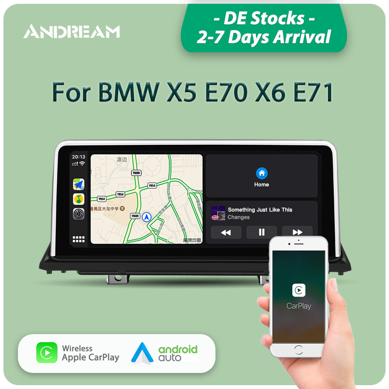 "Andream 10.25"" wireless Apple CarPlay + Android auto  for BMW X5 X6 E70 E71 E72 multimedia Head unit"