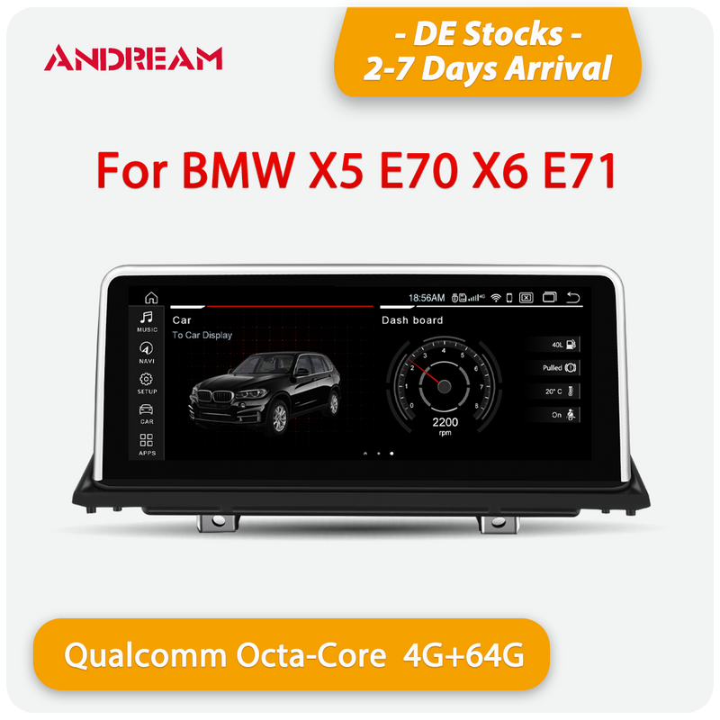 "Andream 10.25"" Android 10.0 4G+64G Qualcomm 8-core built-in 4G-LTE IPS Car MultiMedia for BMW X5 E70 X6 E71 2007-2014"