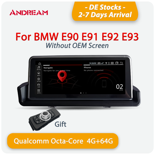 Andream 8.8'' Android 10.0 Qualcomm 8-core 4G+64G 4G-LTE GPS radio player navigation FOR BMW  3 series E90 E91 E92 E93