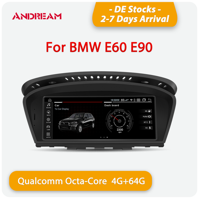 "Andream 8.8"" Android 10.0 4G+64G  Qualcomm octa-core MultiMedia for BMW Series3 5 E60 E61 E62 E63 E64 M6 E90 E91 E92 E93 M3 GPS navigation Head unit"