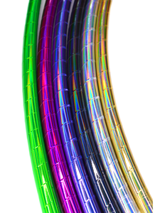 Silver Rainbow Holographic Sheen Taped Performance Hoops