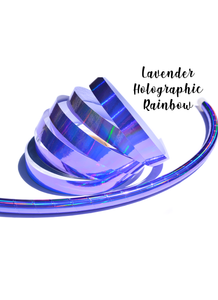 Lavender Holographic Rainbow Performance Taped Hoops