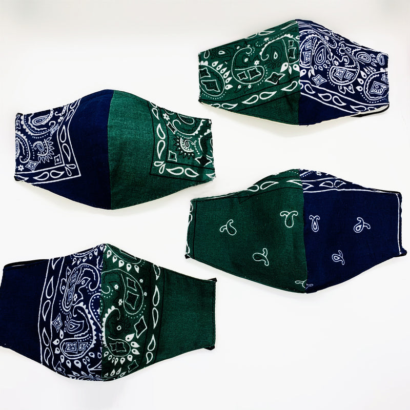 "Two tone ""HARLEN"" bandana mask"