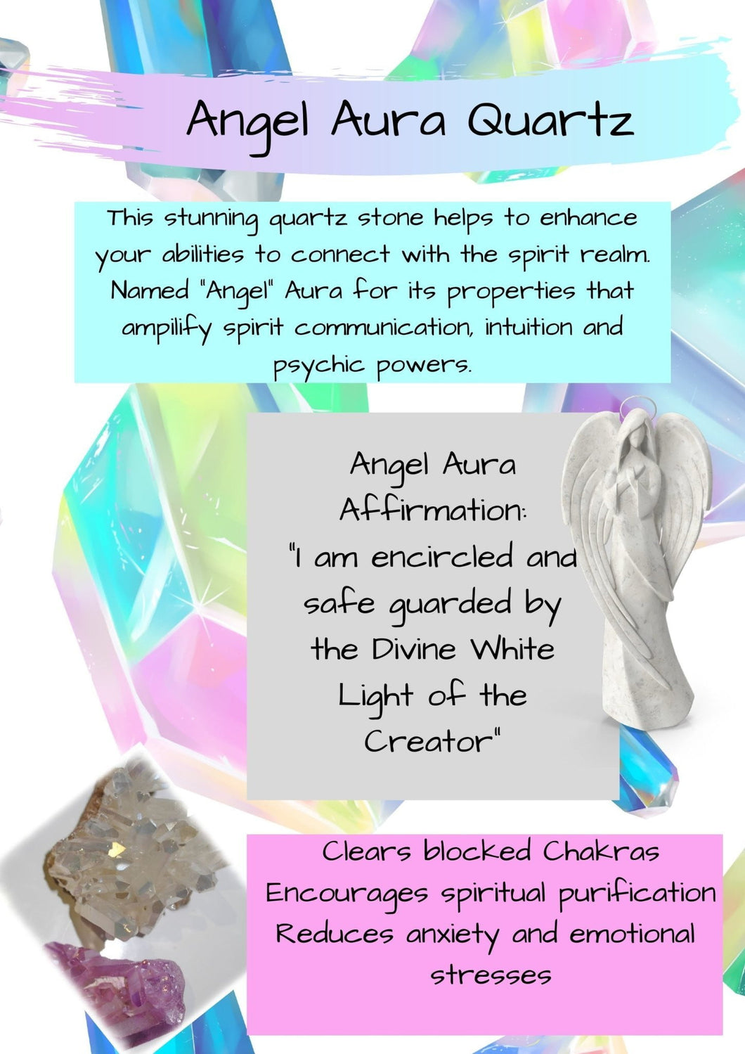 Book of Shadows: Angel Aura Quartz Crystal - Black Cat Coven Couture