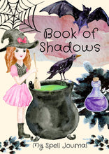 Load image into Gallery viewer, Book of Shadows Cover- Witchy Watercolours - Black Cat Coven Couture
