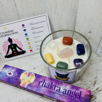 Chakra Crystal Triple Wick Candle - Black Cat Coven Couture