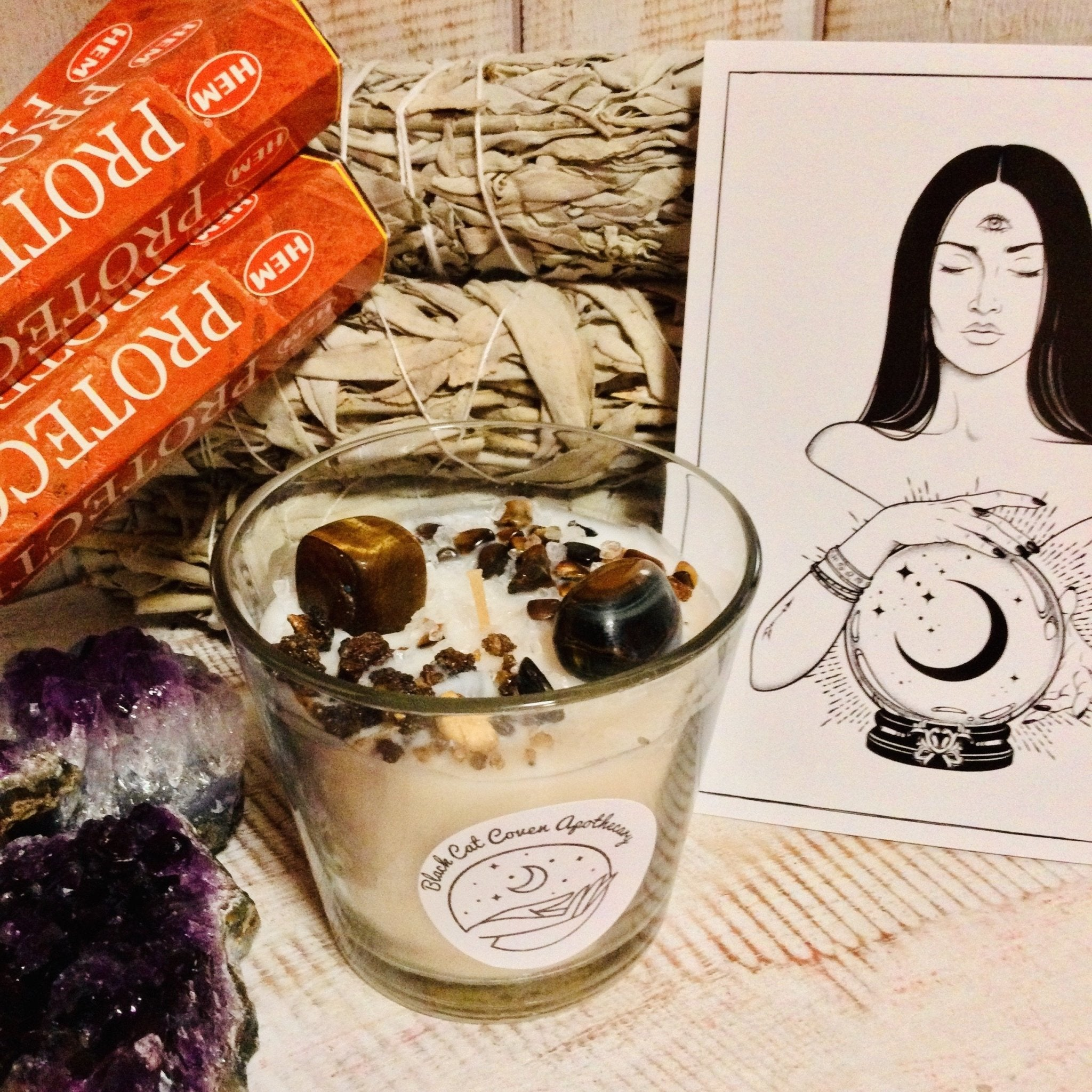 Crystal Spell Candle- Protection Ritual - Black Cat Coven Couture