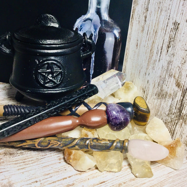 Enchanted Crystal Gemstone Wands - Black Cat Coven Couture