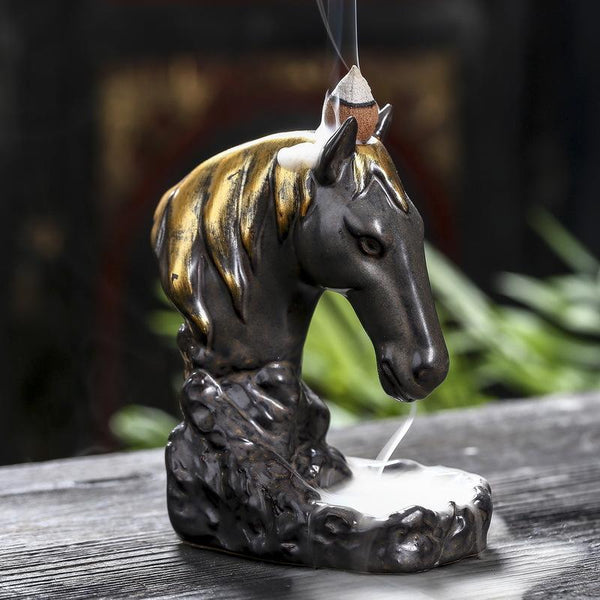 Enchanted Horse Backflow Incense Burner - Black Cat Coven Couture