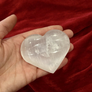Polished Selenite Puffy Heart - Black Cat Coven Couture