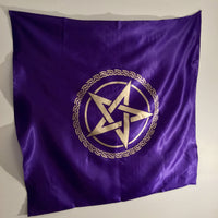 Satin Pentagram Altar Cloth - Black Cat Coven Couture