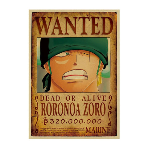 Affiche Wanted Zoro - Luffy store®