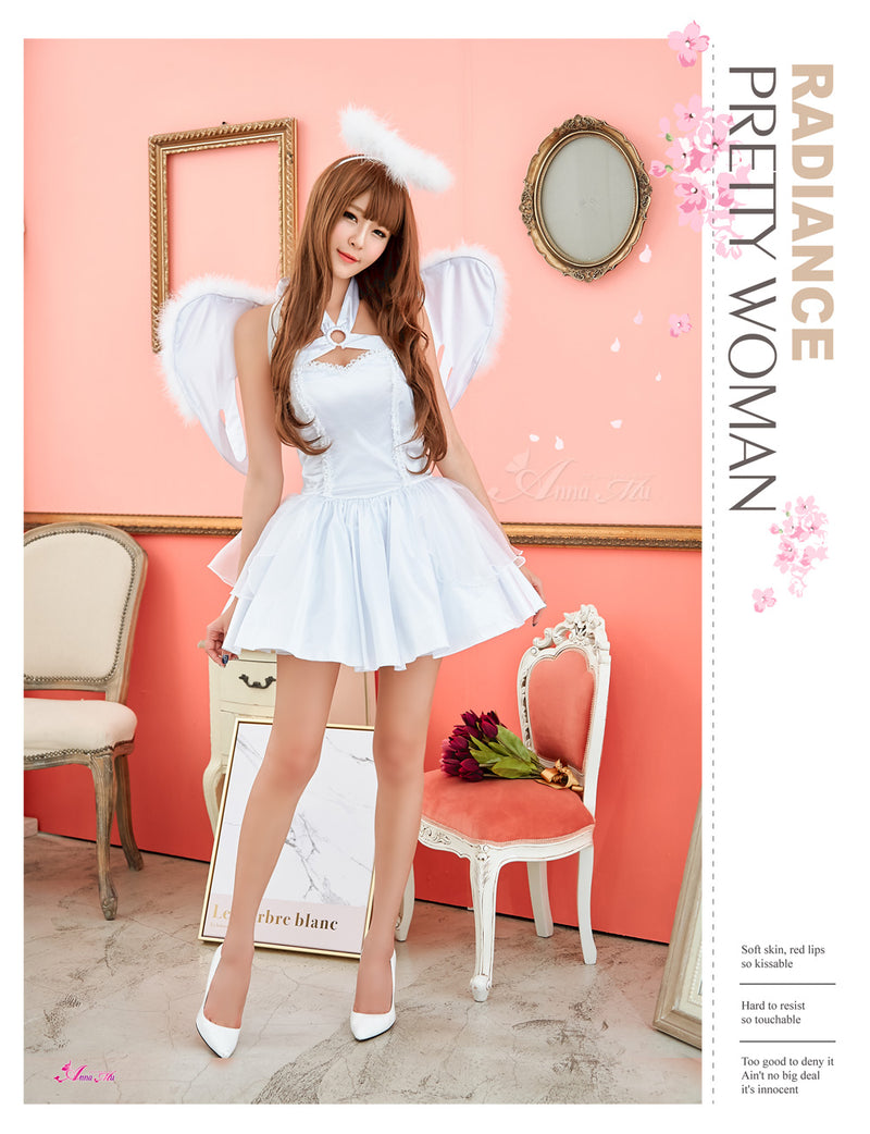 Lingeriecats Sexy 3 Pieces Angel Costume Halloween Cosplay Dress Women Carnival Cute Dress White … - LingerieCats