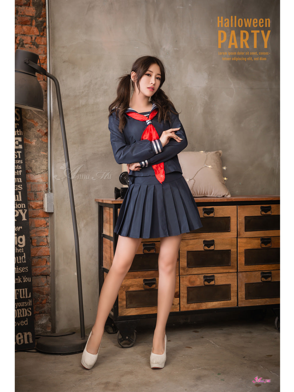 Lingeriecats Halloween Classic Blue School Student Girl Uniform with Red tie in 3 Pieces. - LingerieCats