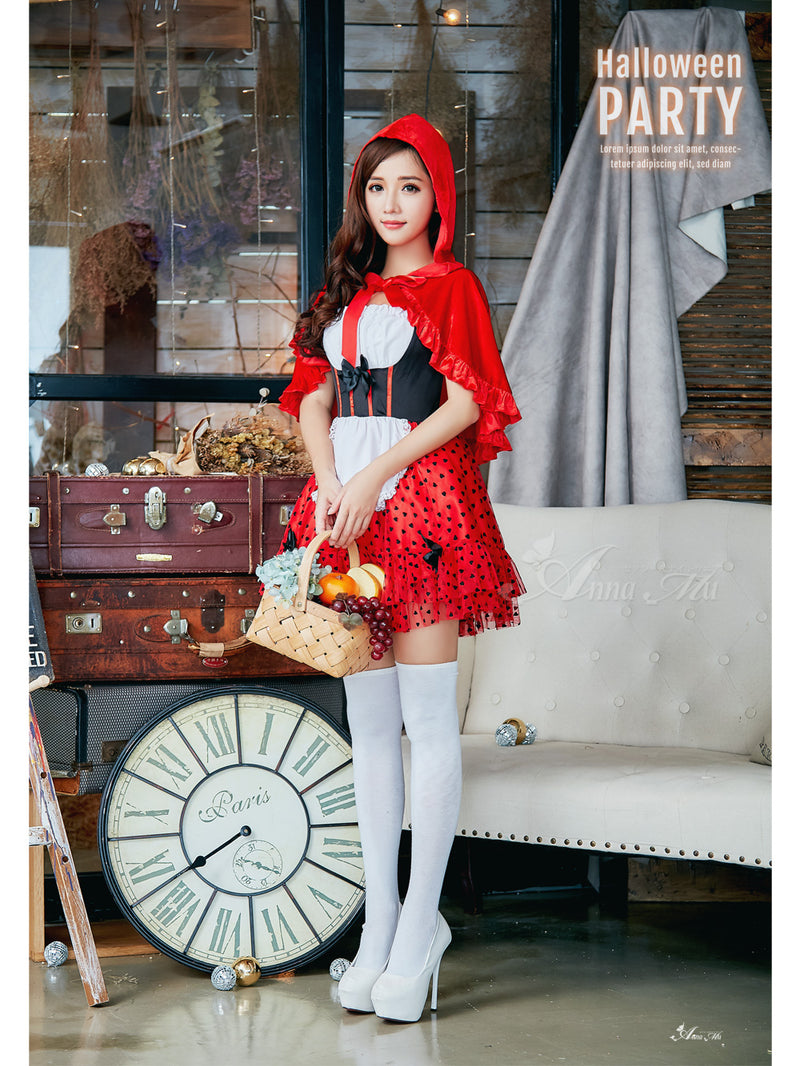 Lingeriecats Halloween Sexy Classical Deluxe Little Red Riding Hood 3 Piece Costume - LingerieCats