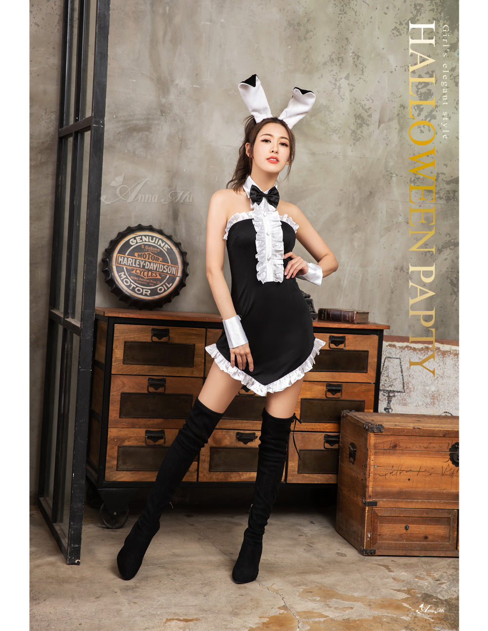 Lingeriecats Halloween Sexy Black Bunny 5 Piece Costume -White Ears - LingerieCats