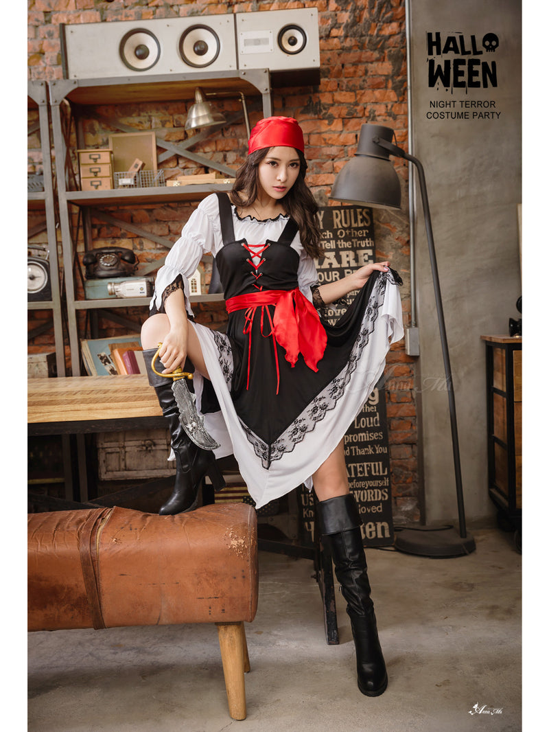 Lingeriecats Sexy Halloween 3 Pieces Pirates Halloween Costume Black - LingerieCats