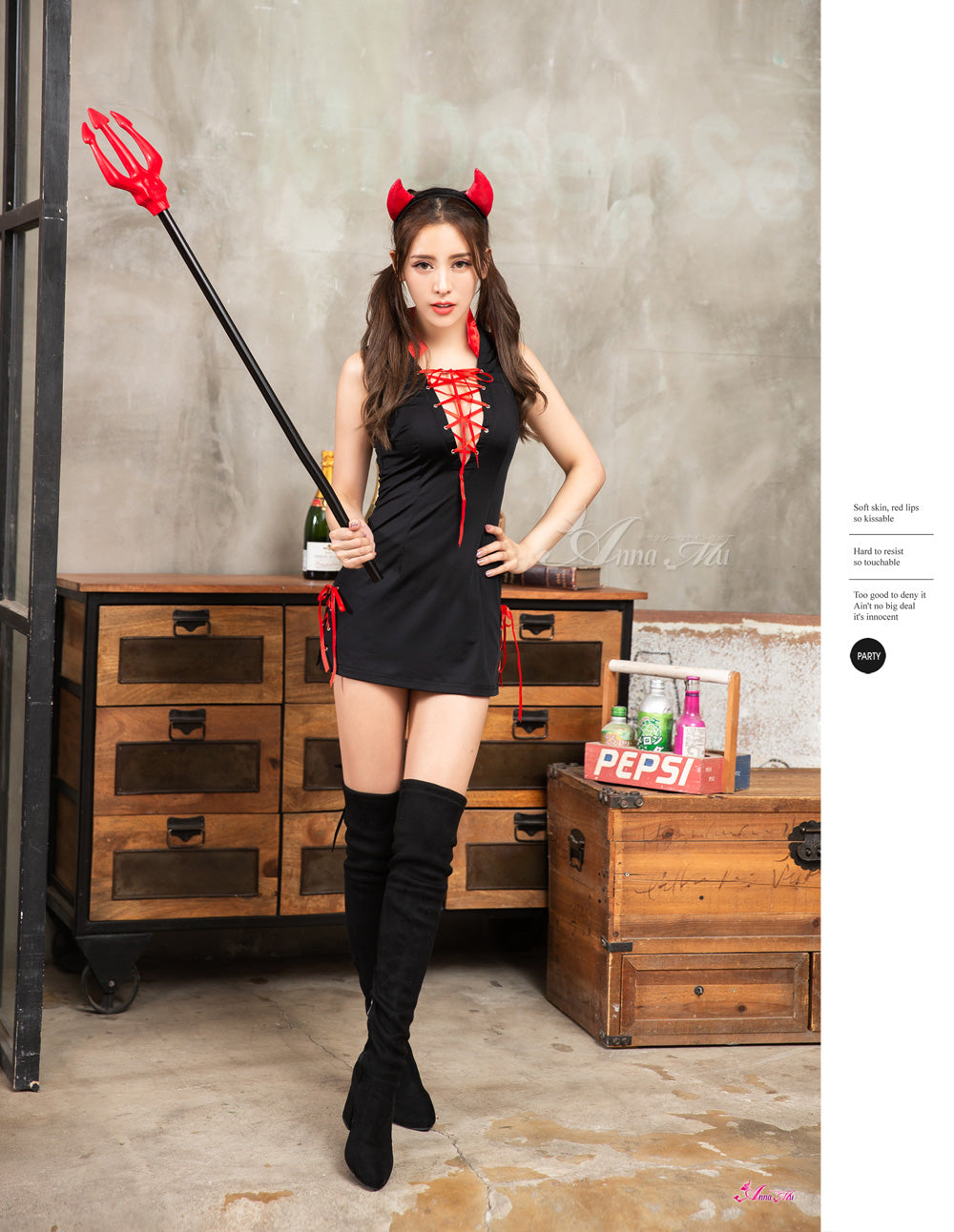 Lingeriecats Halloween Sexy Red Cutie Devil Demon Costume For Girl - LingerieCats