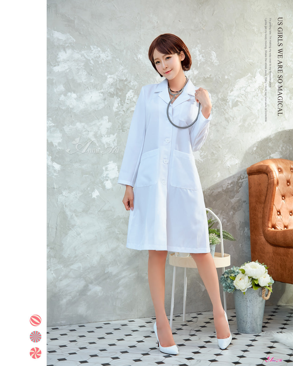 Lingeriecats Halloween Sexy Doctor Lab Coat Professional White Workwear Scrub Uniforms Medical Work Costume - LingerieCats