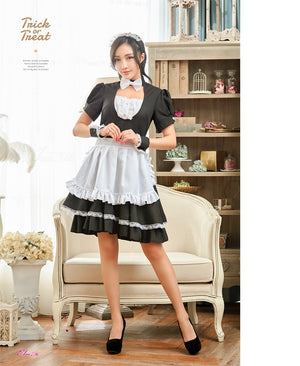 Lingeriecats Sexy Halloween Seductive French Maid 4 Piece Black and White Dress with Bowtie - LingerieCats