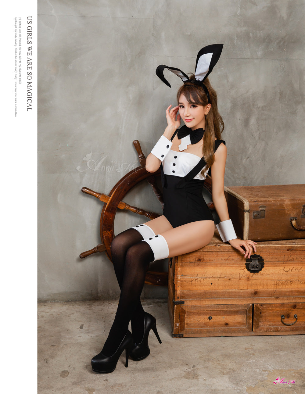 Lingeriecats Halloween Sexy Black Bunny 6 Piece Costume - White Ear - LingerieCats