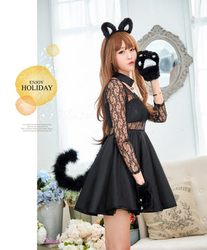 Lingeriecats Sexy 3 Pieces Cute Kitty Black Cat Sweet Costume Fancy Dress Halloween Outfit - LingerieCats