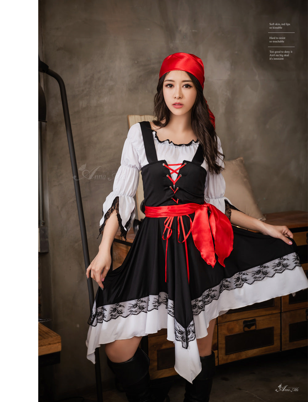 Lingeriecats Sexy Halloween 3 Pieces Pirates Halloween Costume Black