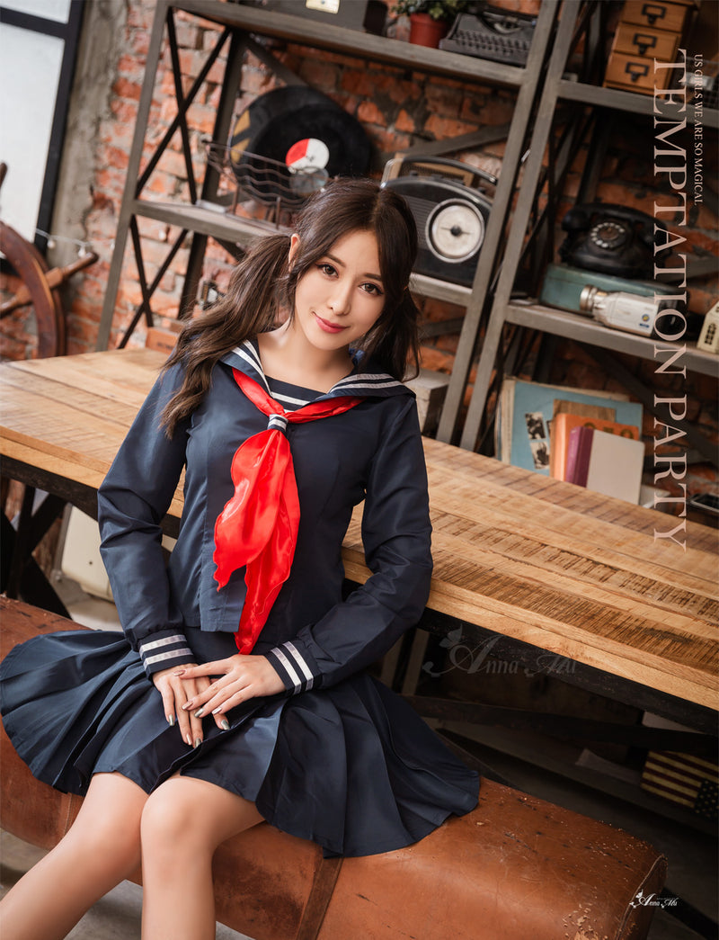 Lingeriecats Halloween Classic Blue School Student Girl Uniform with Red tie in 3 Pieces.