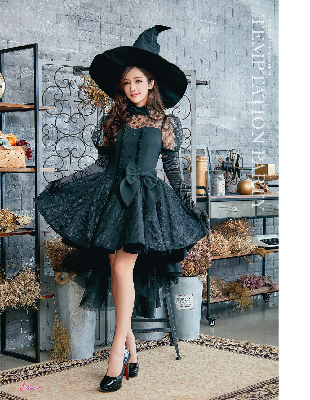Lingeriecats Sexy Black Bewitching Women Halloween with Hat and Glove Costume - LingerieCats