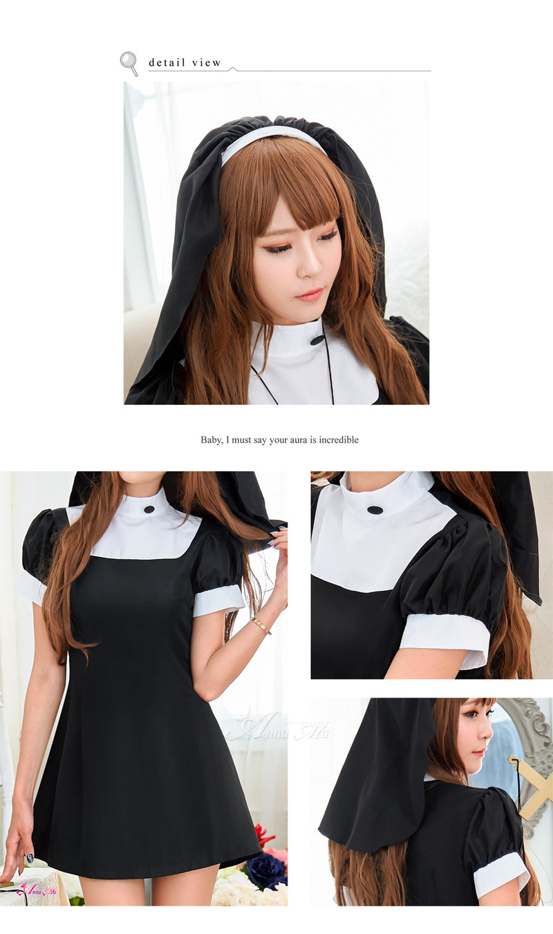 Lingeriecats Halloween Women Sexy Sister Nun Roleplay Holy Religious Fancy Dress Outfit Costume - Black - LingerieCats