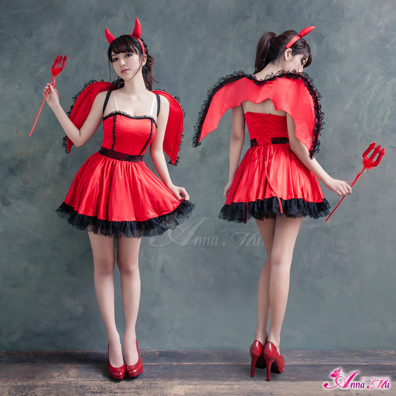 Lingeriecats Halloween Sexy Cute Hot Red Devil Demon 4-Pieces Costume For Girl - with Wings - LingerieCats