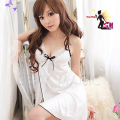 Sexy White Babydoll Lingerie With Black Ribbon - LingerieCats