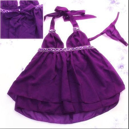 Sexy Backless Purple Lingerie Dress Slip - LingerieCats