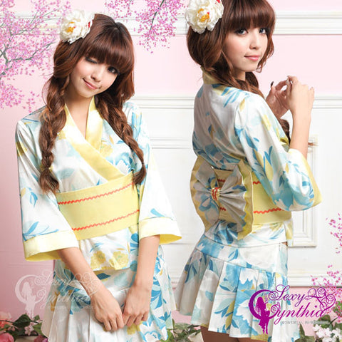 Cute Japanese Kimono Costume Flower Patterned Blue