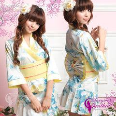 Cute Japanese Kimono Costume Flower Patterned Blue - LingerieCats