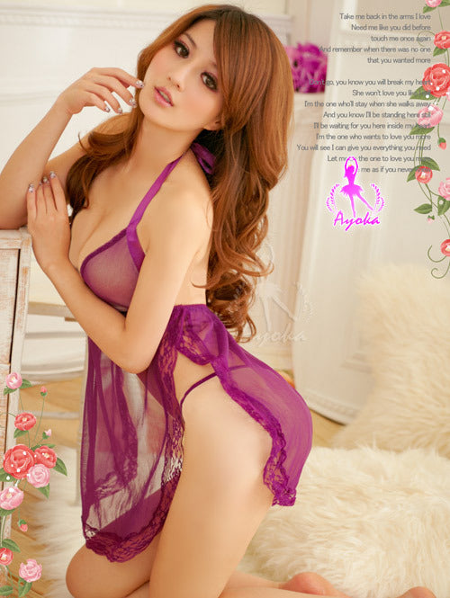 Sexy See-Through Backless Purple Lingerie Babydoll Slip - LingerieCats