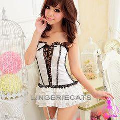 Black and White 5 Pcs Corset Set - LingerieCats