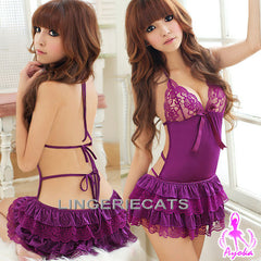 Hot Halter-Neck Rayon Chemise Set, Asian Lingerie, Sexy Babydoll Slip, Lingeriecats