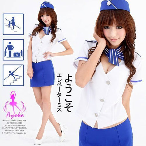 Sexy Flight Attendant Costume White/Blue