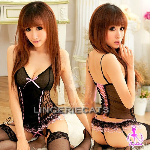 Playful Promises 4 Pcs Corset Set - LingerieCats