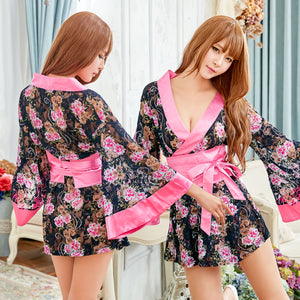 Lingeriecats Sexy Sweet Black Color Japanese Kimono Lingerie Robe - LingerieCats