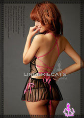Chic Vertical Stripe Babydoll - LingerieCats