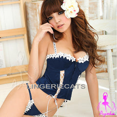 Romantic Rayon Zipper Front Corset Set, Sexy Corset, Asian Sexy Lingerie, Lingeriecats, Japanese Lingerie, Sexy Costumes