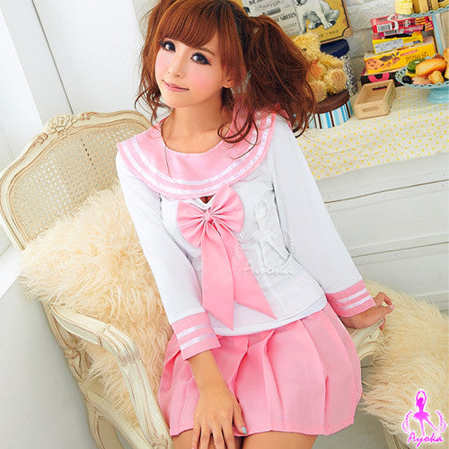 Pinky School 2Pcs Costume