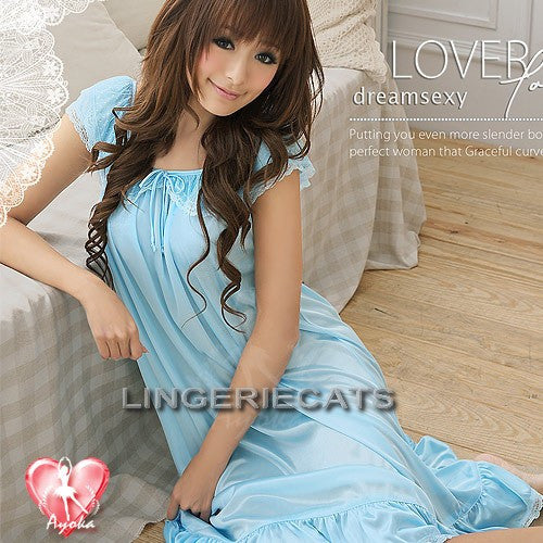 Romantic Ruffled Rayon Chemise Lingerie, Asian Lingerie, Blue Lingerie, Lingerie Slip, Lingeriecats