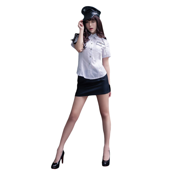 LINGERIECATS White - Black 2pcs Hotties Police Outfit Cosplay Costume Set (Free Sport Pant Gift) - LingerieCats