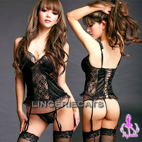 LINGERIECATS brand Love Blossom Red and Black Kimono 2 Pcs Costume