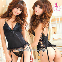 Black Trap Corset Set - LingerieCats