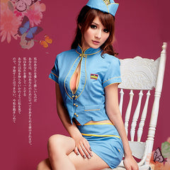 Lingeriecats Sexy Sky-Blue stylish air-hostess outfit cosplay costume set. - LingerieCats