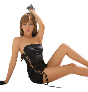 LINGERIECATS Galaxy Black Sexy Side Lace-up one piece Party Dress (Free Sport Pant Gift) - LingerieCats